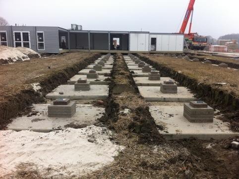 Start bouw tijdelijk onderkomen 't Hamrik Nieuwolda