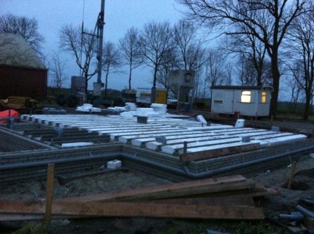 Nieuwbouw woning Wagenborgen, begane grond vloer ligt erin